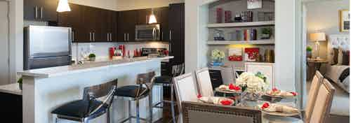 AMLI River Oaks apartment kitchen with stainless steel appliances and dark wood cabinetry and dining table with eight chairs