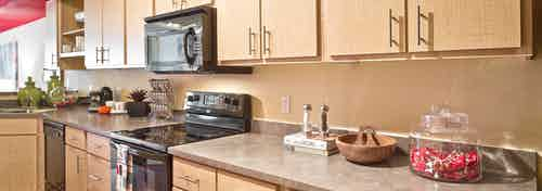 Interior view of AMLI 535 apartment kitchen with stainless steel appliances and brown cabinets and tan counter tops
