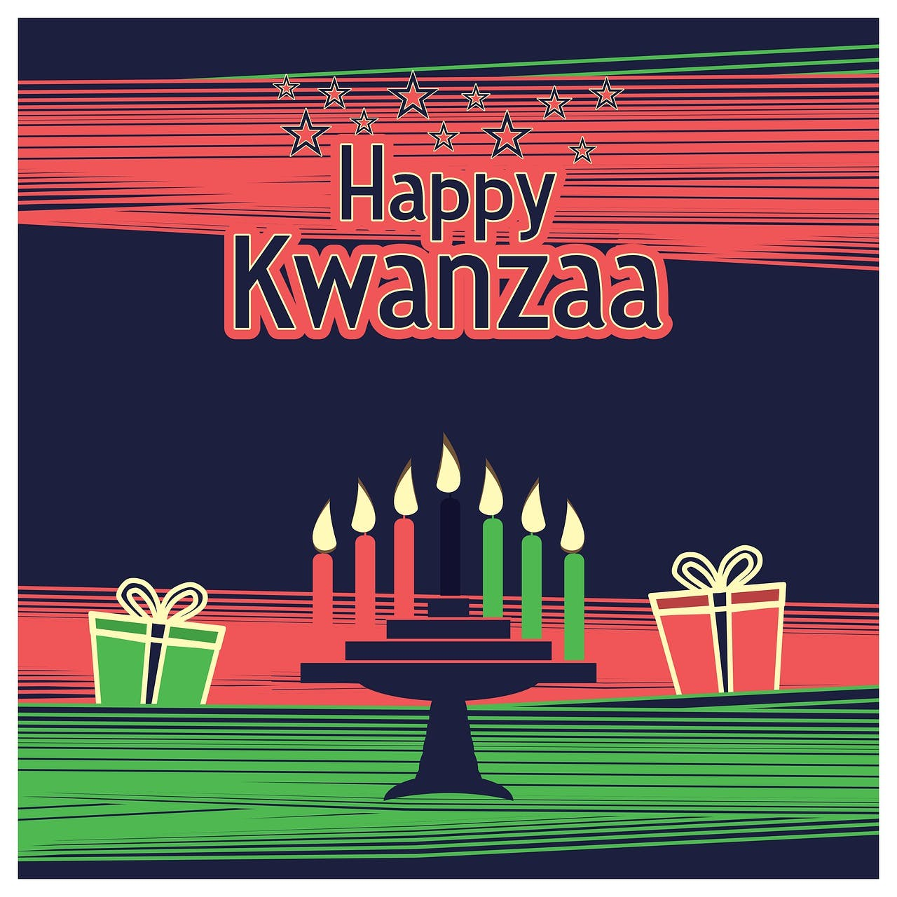 Seven lit Kwanzaa candles and two gifts