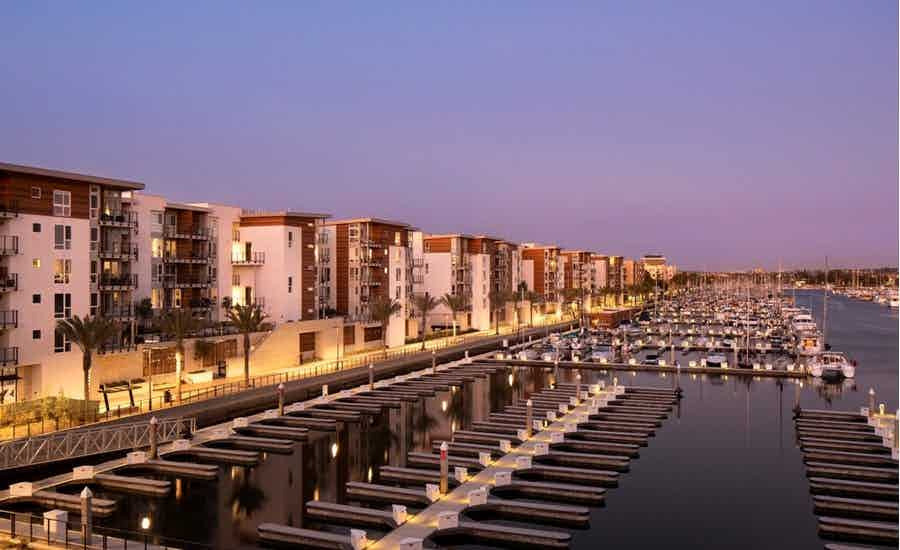 Exterior of the AMLI Marina del Rey apartment community which consists of 585 apartments and 241 boat slips