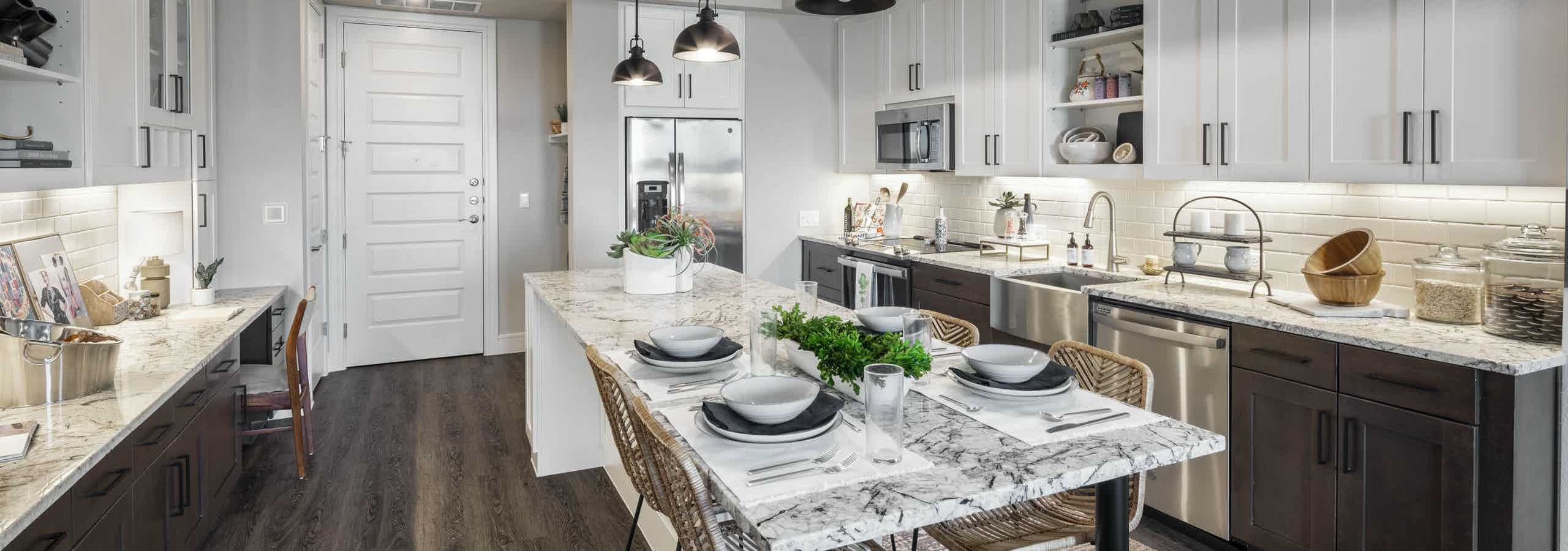 Island kitchen with granite countertops
