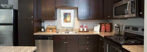 Interior close up of dark wood cabinets in spacious AMLI 5350 kitchen with stainless steel appliances and granite countertops