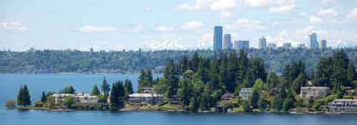 Take in the views of Lake Washington from AMLI Bellevue Park new rooftop clubroom on a beautiful sunny day with Seattle in the background
