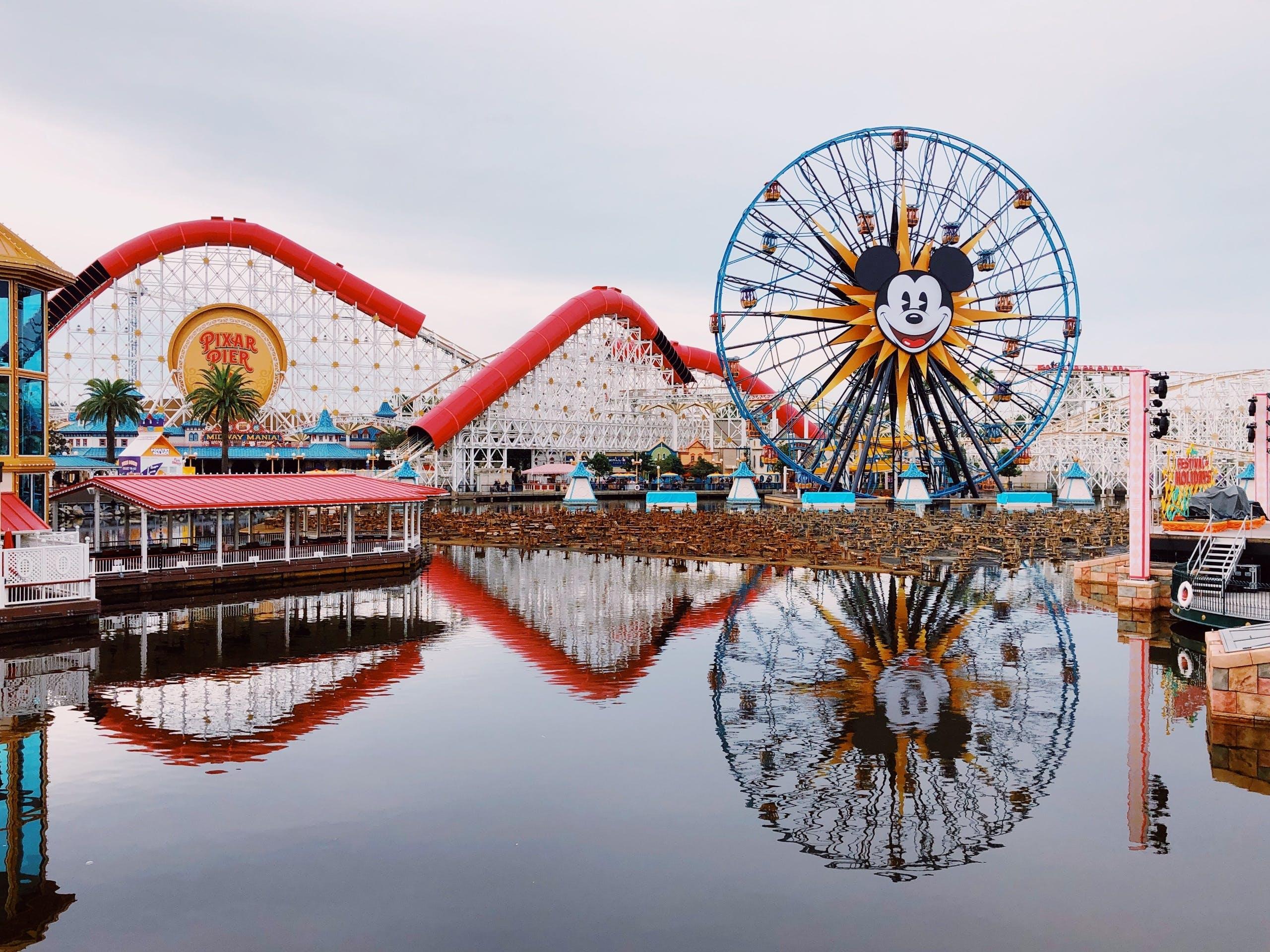 Disneyland rollercoaster and ferris wheel