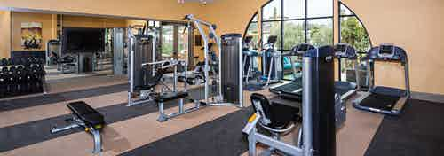 Interior view of AMLI Spanish HIlls fitness center with flat screen TV, cardio equipment and free weights facing courtyard