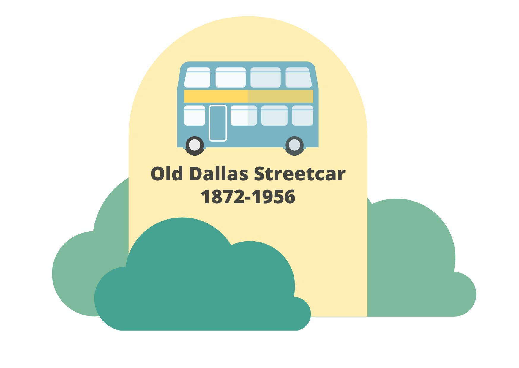 graphic of a gravestone with a bus and the words old dallas streetcar 1872-1956