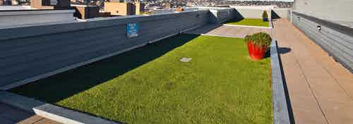 Daytime view of AMLI 535 per-friendly community rooftop deck with pet run and views of South Lake Union