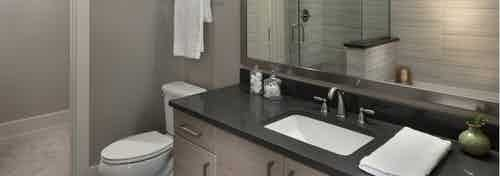 A bathroom in an apartment at AMLI Riverfront Green with view of toilet and large mirror with shower in the reflection