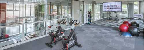 Fitness center at AMLI Arts Center with exercise balls and large wall mirror with glass walls overlooking downstairs area