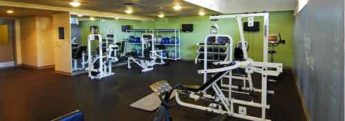 Interior of the fitness center at AMLI 535 apartments with weights mats and weight lifting machines with green walls and dark floors
