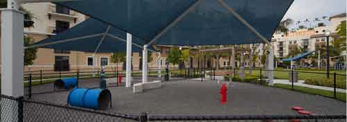 Exterior view of fully covered and gated paw park at AMLI Dadeland with agility equipment surrounded by a grassy run