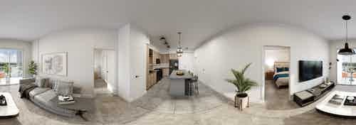 Panoramic interior rendering of contemporary living room and island kitchen at AMLI Midtown Miami apartment building