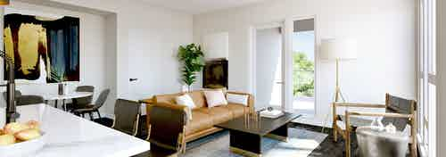 AMLI Old Pasedena apartment living area rendering featuring dark floors with minimalistic decor and tall windows