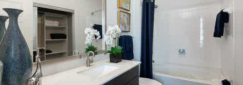 Apartment bathroom at AMLI South Shore with a large blue vase resting on quartz vanity sink countertop with white shower tub