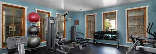AMLI 300 state-of-the-art fitness center with exercise balls, hand-held weights, and a versatile weight machine