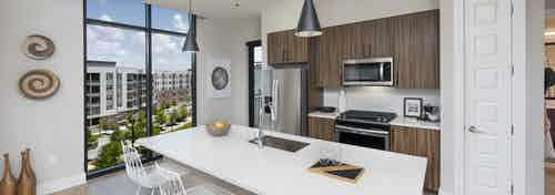 AMLI Lenox apartment kitchen with dark brown cabinets and stainless steel appliances and kitchen island and large window