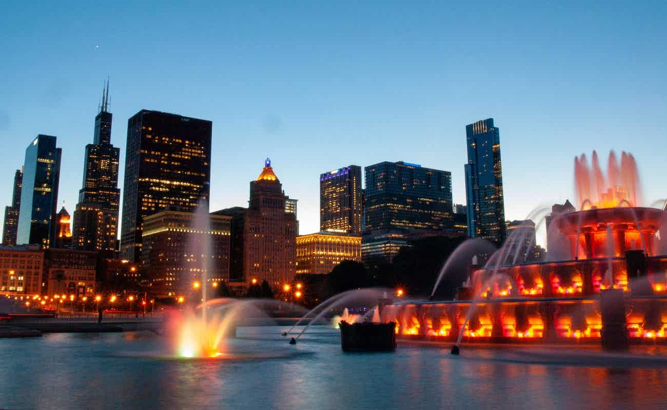 Grant Park fountain at night
