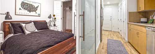 Interior apartment at AMLI Wallingford with view of bedroom with full size bed and walk through kitchen