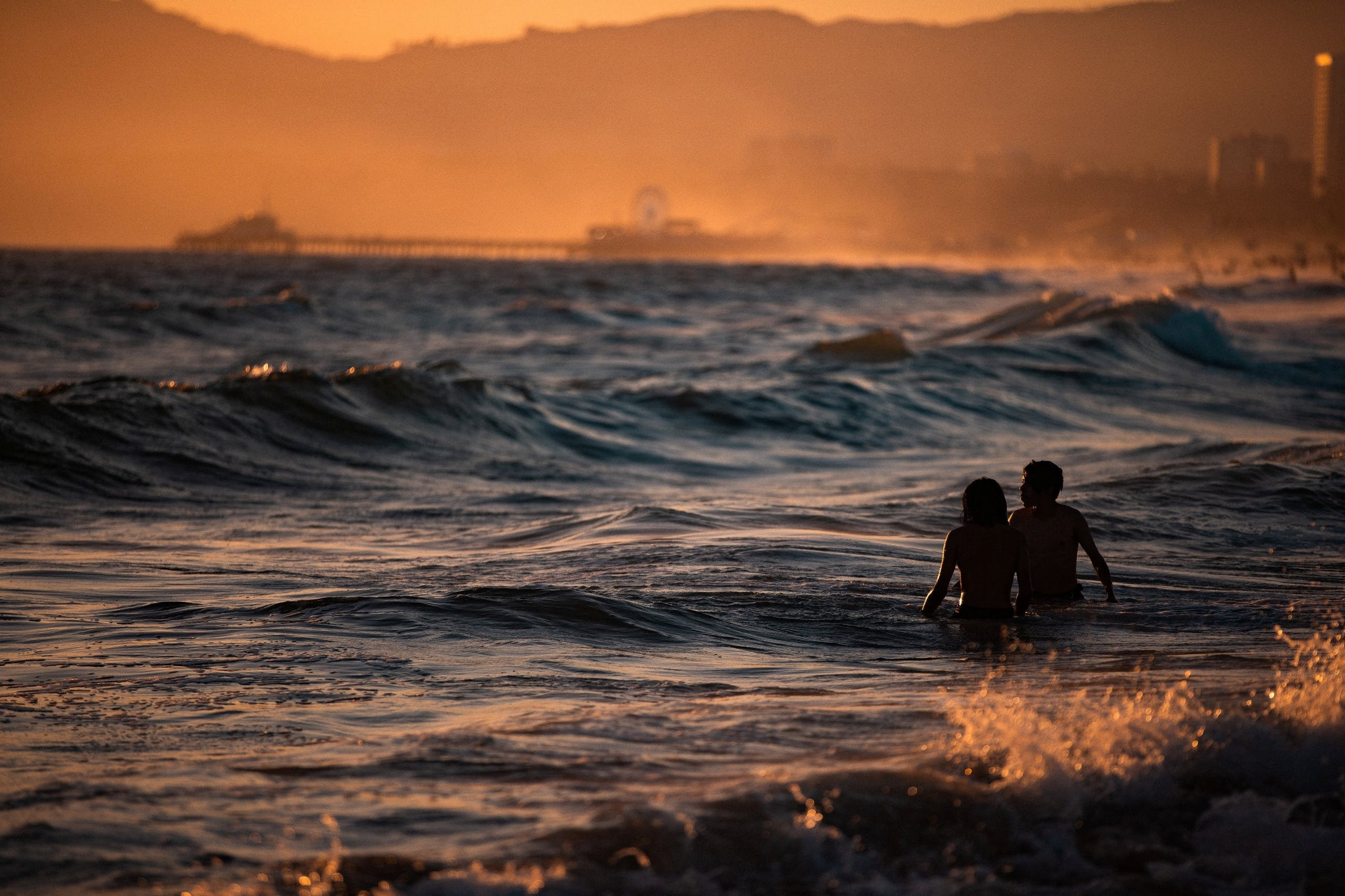 people in the waves
