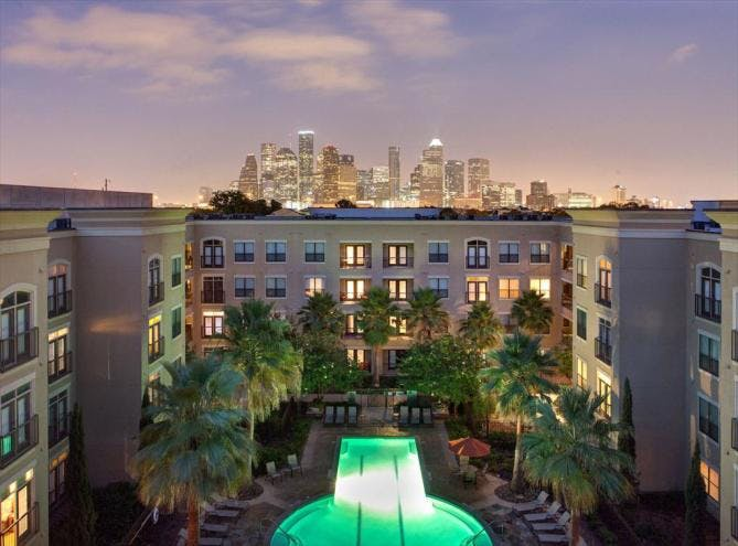 AMLI City Vista luxury apartment grounds Houston