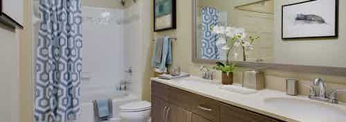 Interior view of AMLI Ponce Park bathroom with a double vanity mirror and toilet and white shower tub with blue curtain