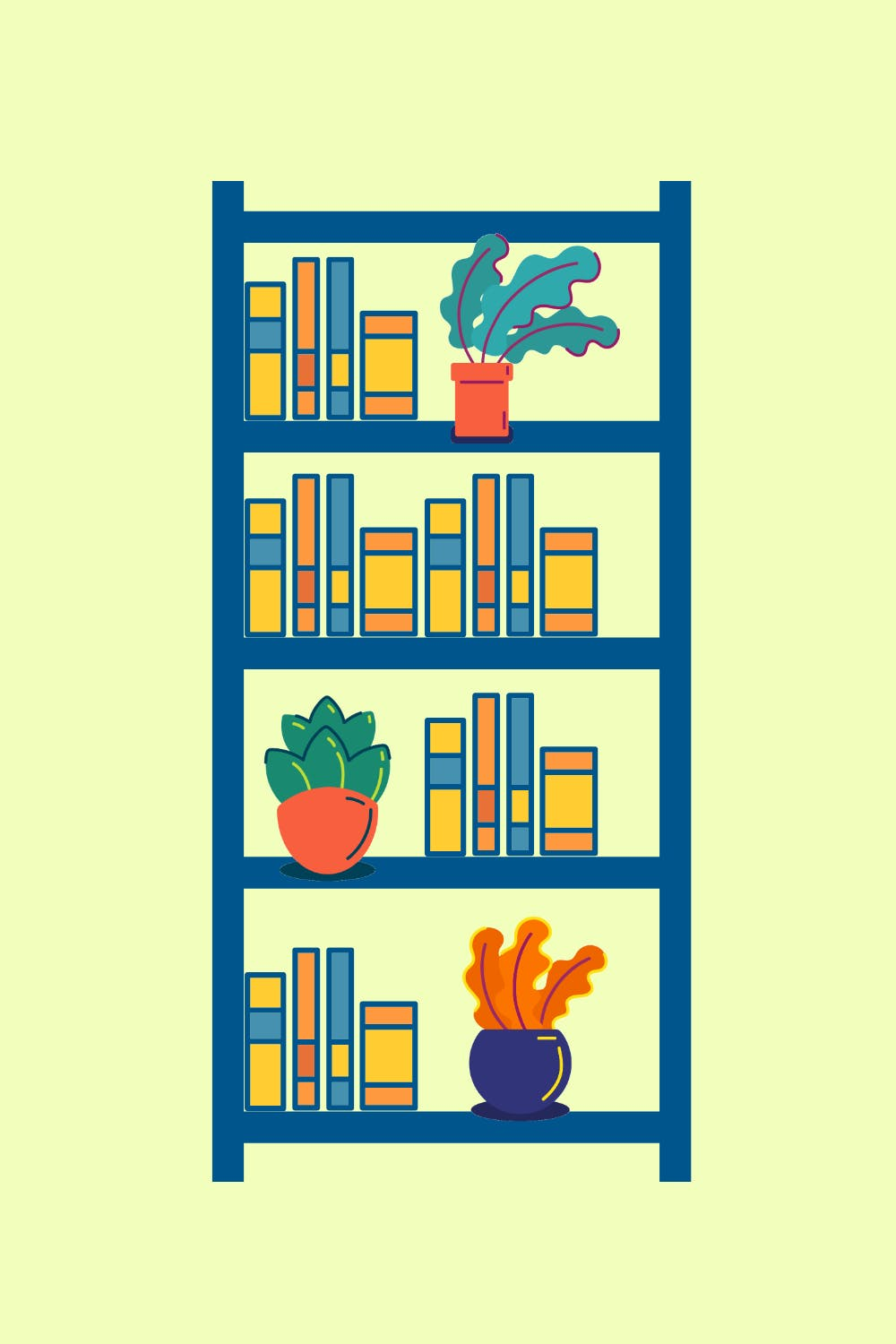 graphic of a bookshelf with books and a few plants on it