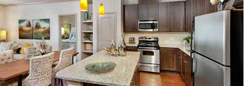 AMLI North Point kitchen with dark cabinets and granite countertops with a white backsplash and a spacious island