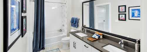 AMLI Decatur bathroom with a double vanity with white cabinets and dark countertops with a soaking tub and framed mirror