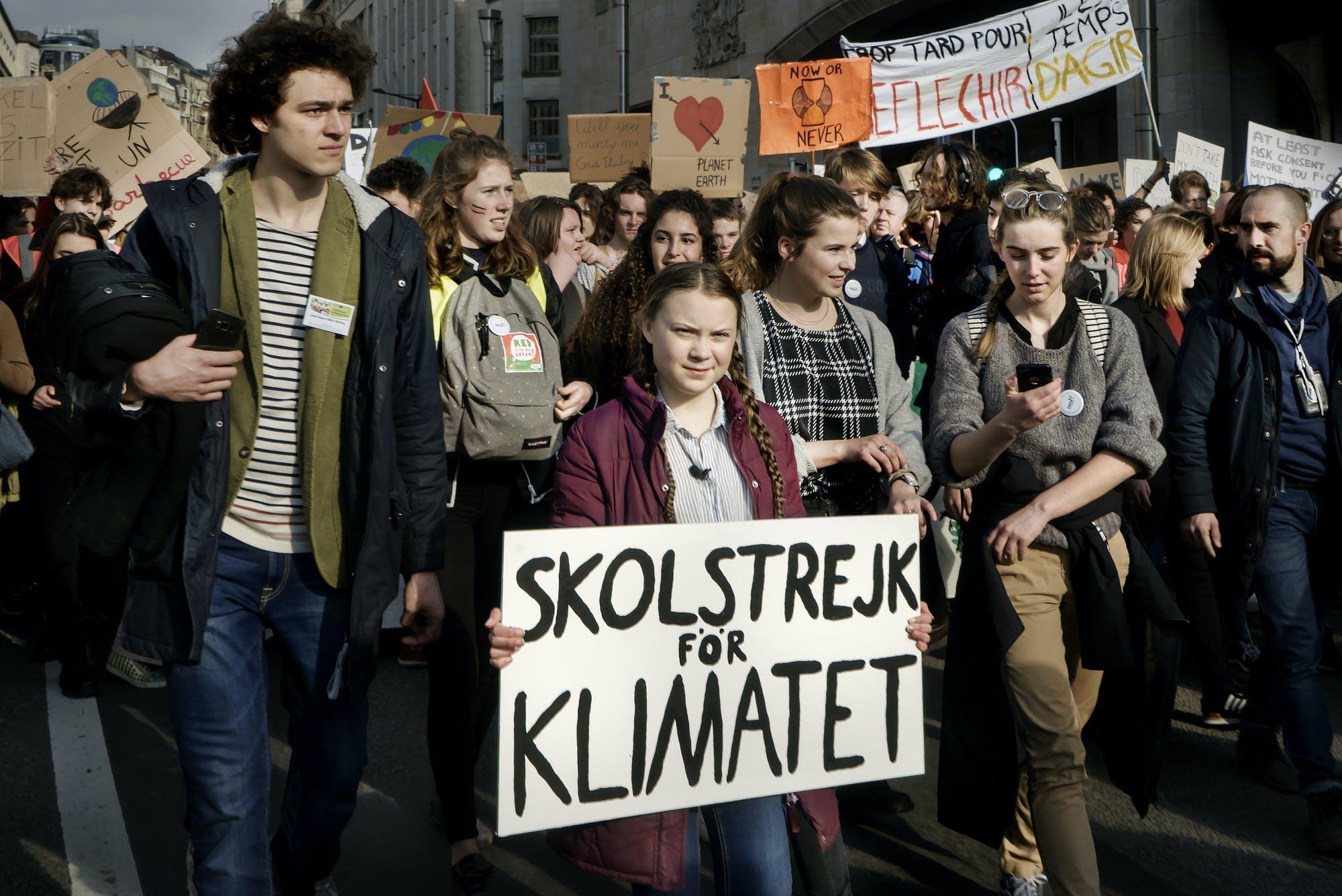 Greta Thunberg lors d'une marche étudiante à Bruxelles en février 2019® Eric Mildt