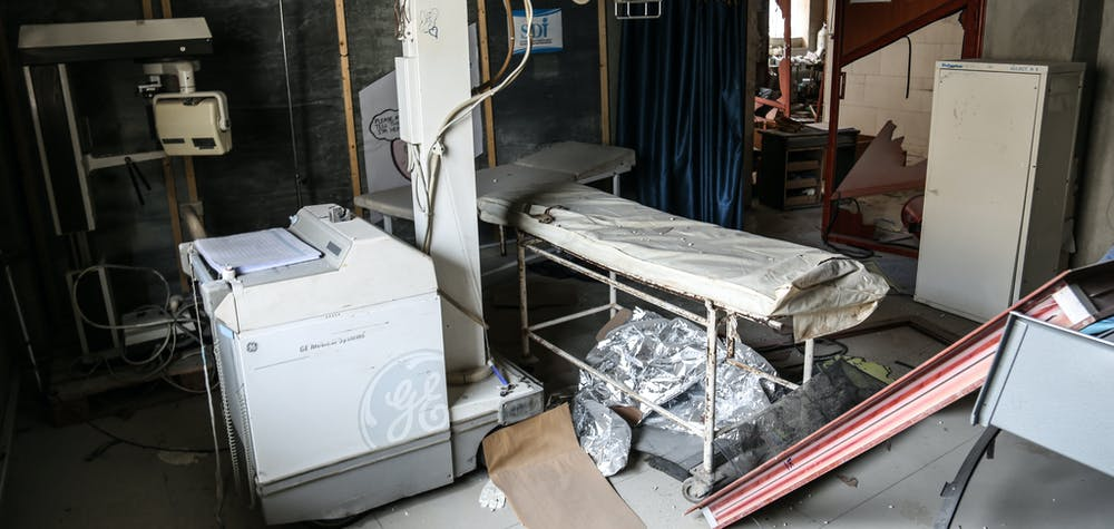 Medical equipment are damaged after Russian warplanes hit residential areas in Idlib, a de-escalation zone in northwestern Syria on January 30, 2020. The Russian bombing target various areas, including a hospital and a bakery, in Ariha district, south of Idlib.