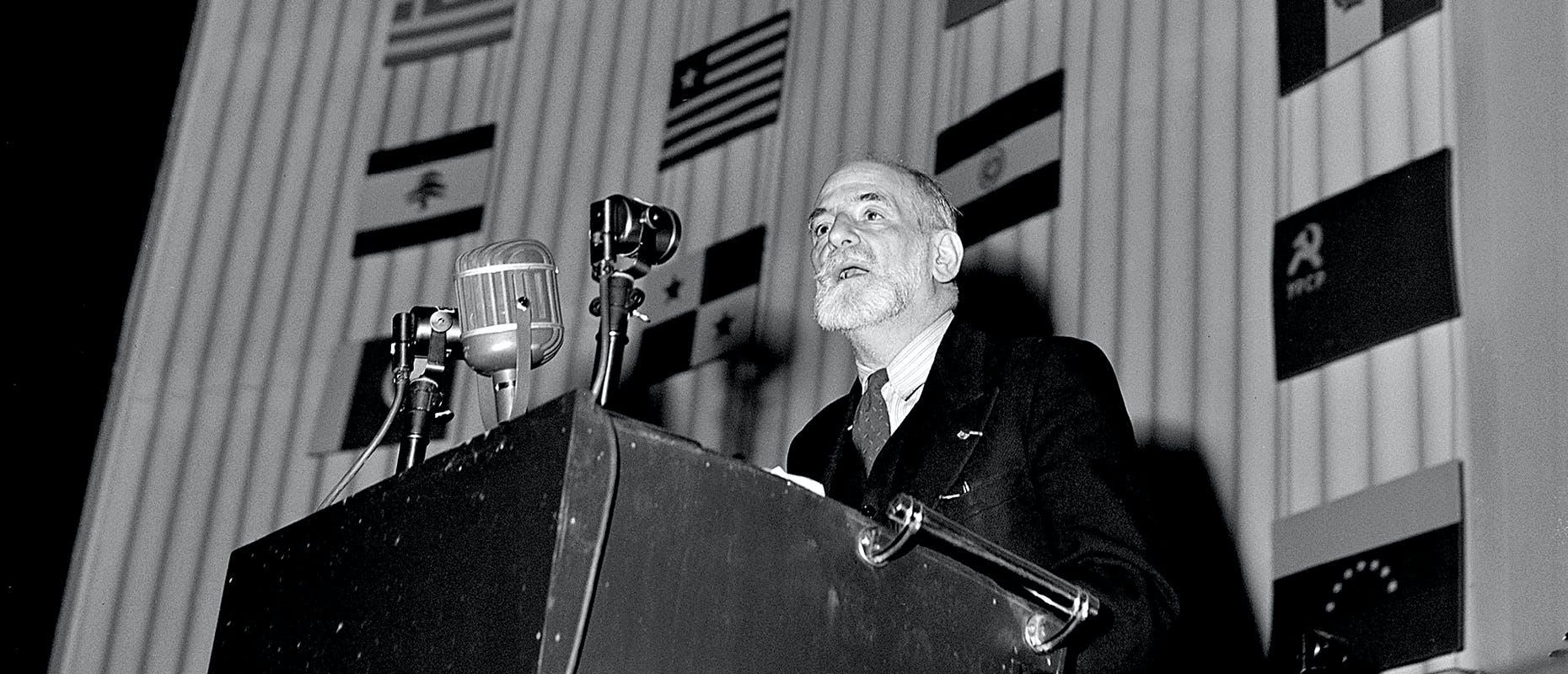 René Cassin à l'AG des Nations Unies du 10 décembre 1948 avant l'adoption de la Déclaration universelle de droits de l'homme