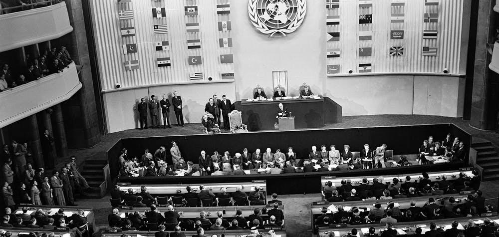 Ouverture de l'AG des Nations Unies au Palais de Chaillot septembre 1948