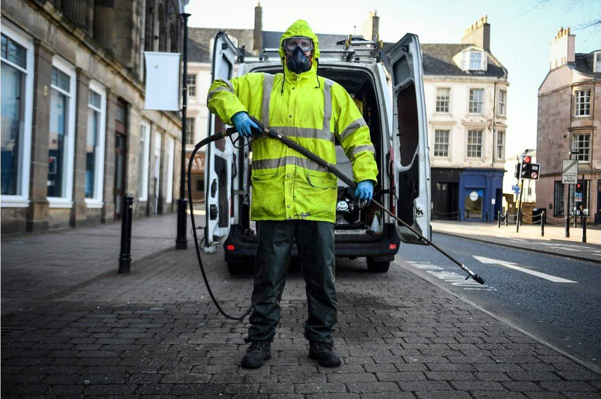 Robin Barclay, cleaning contractor, in Glasgow, Scotland, on April 18, 2020;