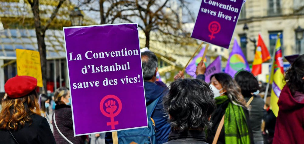 Rally in support of Turkish women after Turkey's government abandons the Istanbul Convention, in Paris, France, on March 27, 2021. Turkey withdraws from the Istanbul Convention, a very advanced convention in the condemnation of violence against women. Photo by Karim Ait Adjedjou/Avenir Pictures/ABACAPRESS.COM
