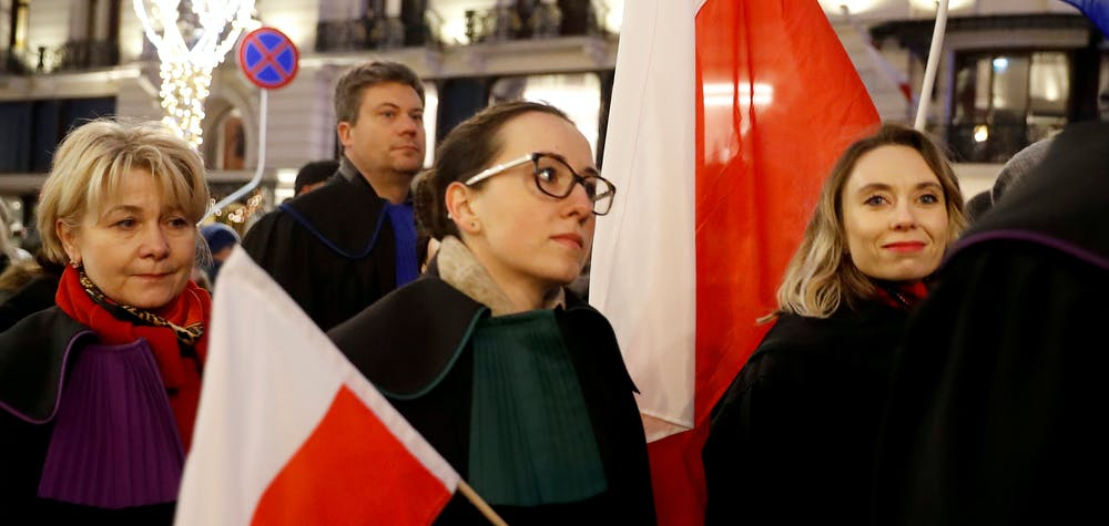 Demonstrators attend a protest against judiciary reform in Warsaw, Poland January 11, 2020. REUTERS/Kacper Pempel