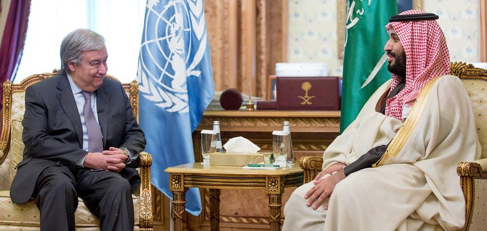 Le SG de l'ONU rencontre le prince héritier d'Arabie saoudite Mohammad bin Salman Al Saud - 02/2017