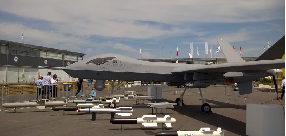 Drone armé chinois Wing Loong II, présenté au salon du Bourget 2017