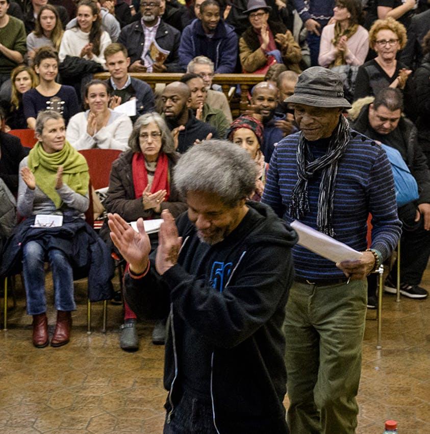 Soirée rencontre débat organisée par Amnesty International France avec Albert Woodfox et Robert King le 15/11/16 à la Bourse du travail de Paris.