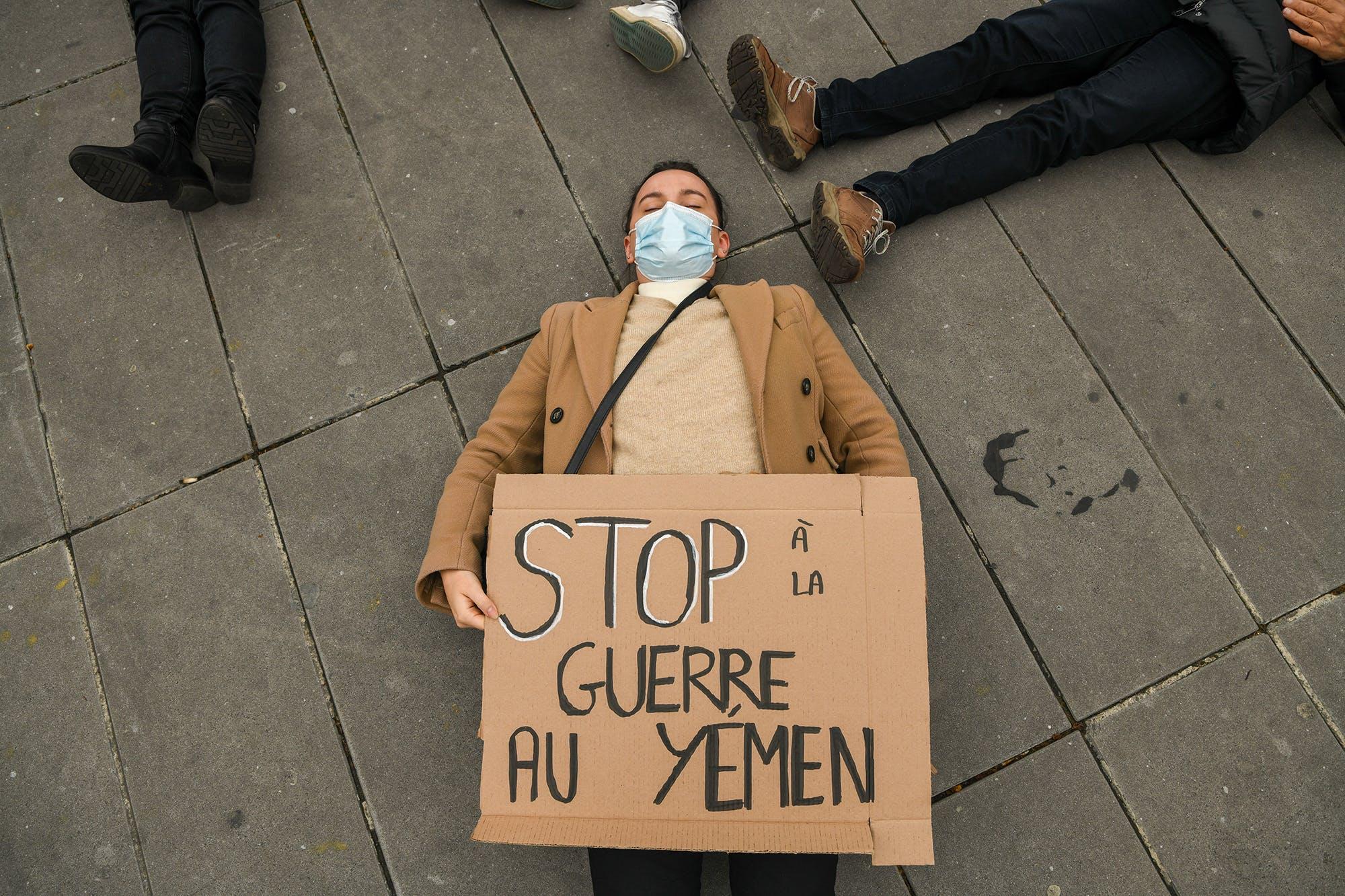 Mobilisation sur la place de la République pour le sixième anniversaire du conflit au Yémen, 25 mars 2021