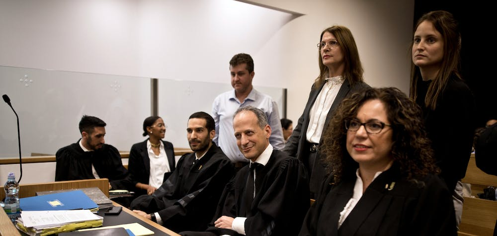 A legal team, including attorney Ran Sprinzak, attends a court hearing on Amnesty International's legal bid to have Israel revoke the export license of the Israeli NSO surveillance firm, at Tel Aviv's District Court, Israel January 16, 2020. REUTERS/Corinna Kern