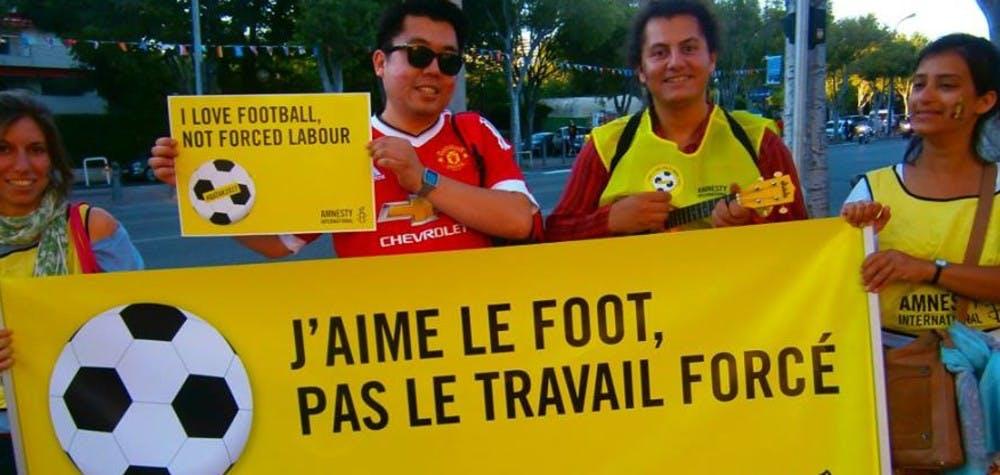 A Marseille en protestation contre le travail forcé