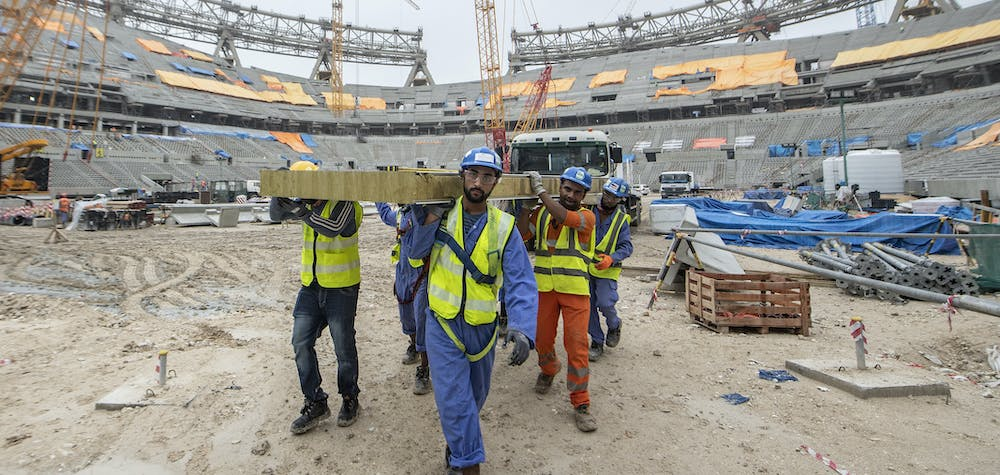 DOHA, QATAR - DECEMBER 10: General view of the construction works of the Lusail Stadium on December 10, 2019 in Doha, Qatar. The Lusail Stadium will host the opening match and the final match of the next FIFA World Cup Qatar 2022 (Photo by David Ramos - FIFA/FIFA via Getty Images)