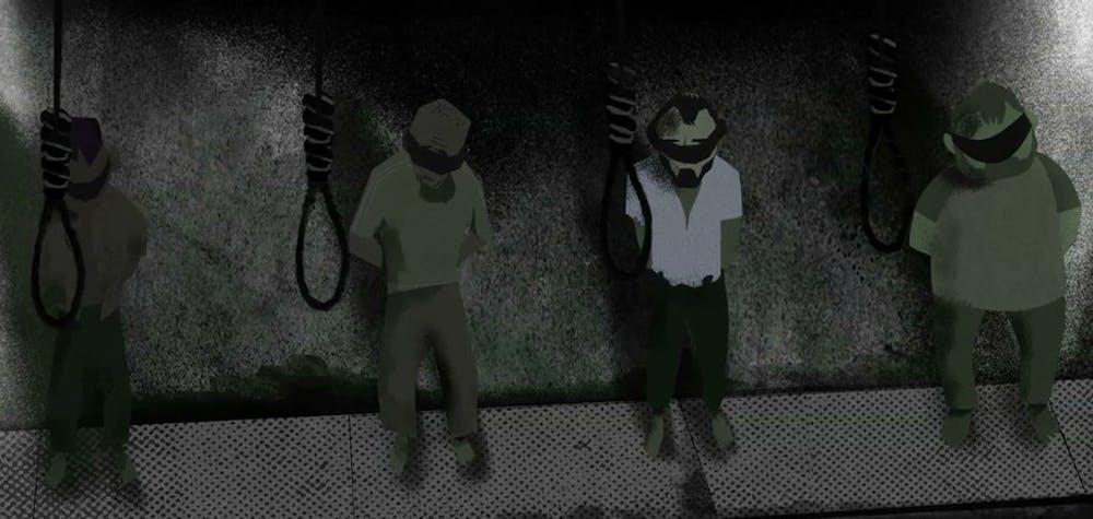 Images tirées du film d'animation: Syrie: l'abattoir humain.  Cette courte animation montre de façon effrayante comment les prisonniers sont pendus à la prison de Saidnaya.