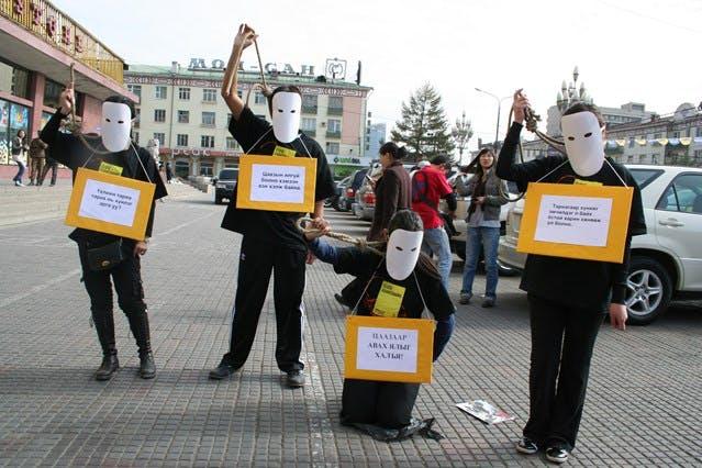 Mobilisation des militants d'Amnesty en Mongolie contre la peine de mort