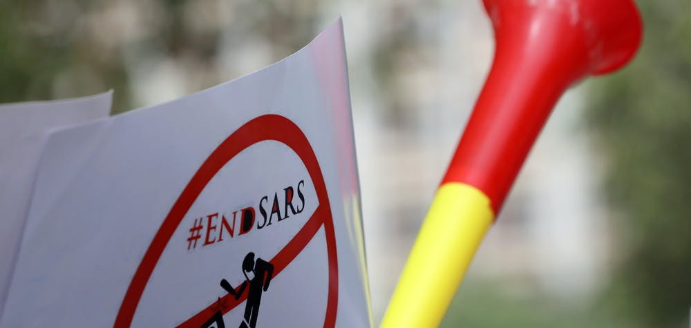 A banner with #ENDSARS is seen displayed during a rally to stop the Special Anti-Robbery Squad (SARS), in Abuja, Nigeria December 11, 2017. REUTERS/Afolabi Sotunde