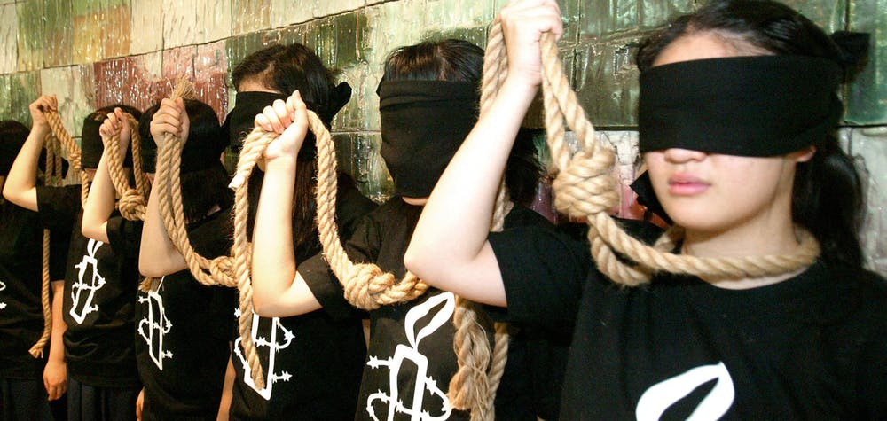Des militants d'Amnesty International Corée du Sud manifestent contre la peine capitale à Séoul, le 10 ostobre 2007.