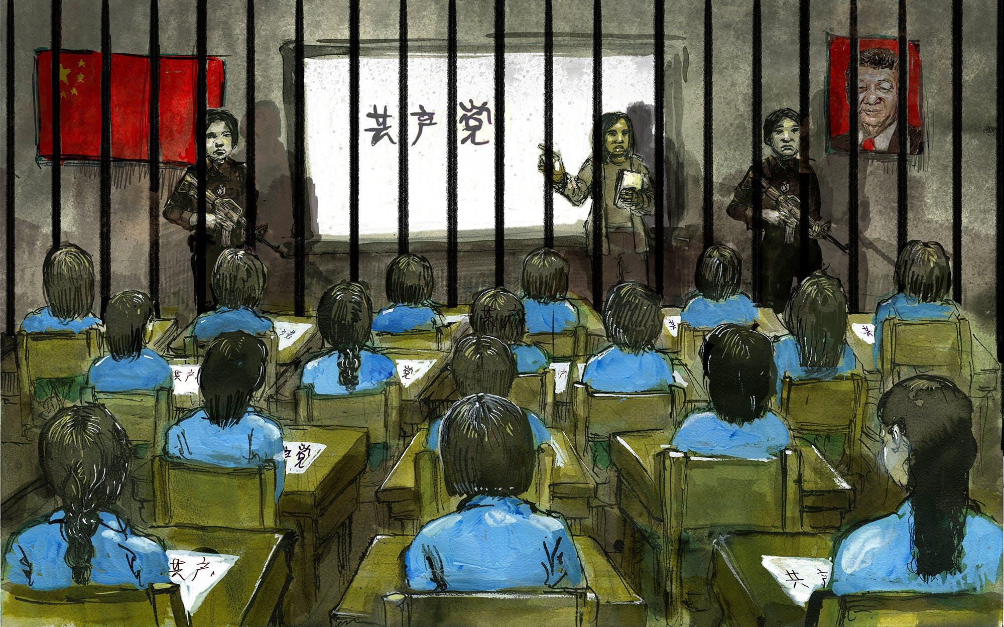 Des gardes entourent un grand groupe de détenus dans un camp d'internement du Xinjiang, en Chine.