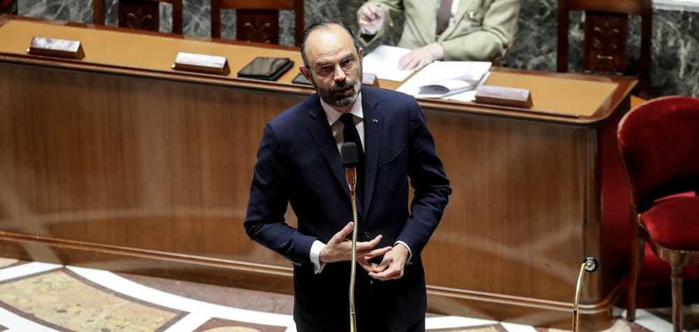 French Prime Minister Edouard Philippe takes part in a debate about the state of health emergency bill at the National Assembly in Paris, France March 21, 2020, as a strict lockdown comes into effect to stop the spread of the COVID-19 caused by the novel coronavirus in the country.