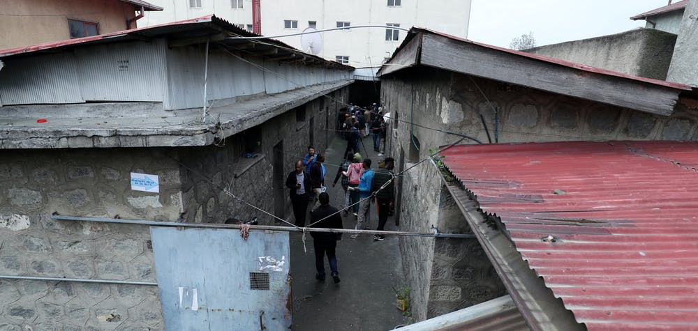 People walk inside Maekelawi detention center for political prisoners after it was opened to the public in Addis Ababa, Ethiopia September 6, 2019. REUTERS/Tiksa Negeri