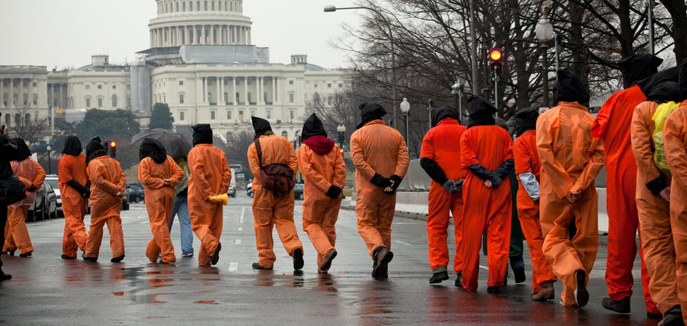 Amnesty International USA activists protest the 10th anniversary of the Guantanamo Bay detention centre, Washington DC, USA, 11 January 2012.